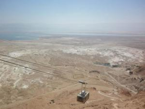At top of Masada- Dead Sea in background